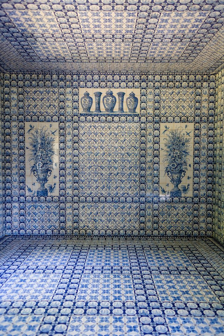~The interior of the garden tent ('La Tente Tartare') at the Château de Groussay – covered floor-to-ceiling in Delft blue tiles.
