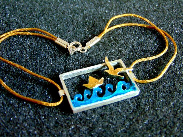 Paper Boat Seagull Bracelet Girls Charm Bracelet Gift for Ladies Bracelet Enamel and Silver Popular Bracelets Gift Ideas Artisan Jewelry by ArchipelagosBreeze on Etsy