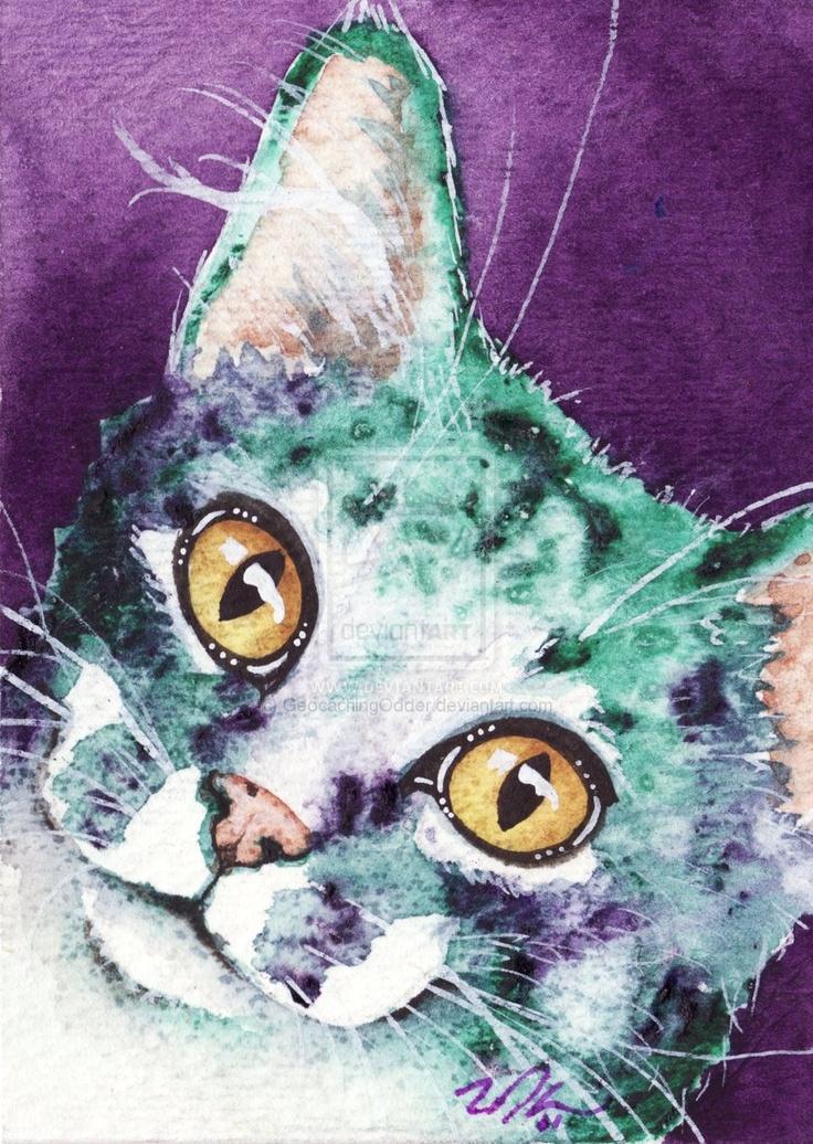 Purple Tabby ACEO by GeocachingOdder.deviantart.com on @deviantART