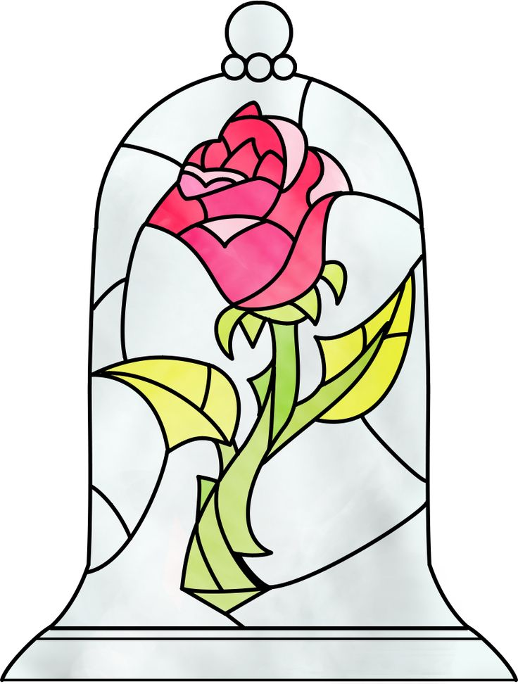 Stained Glass Panel Rose Clip Art