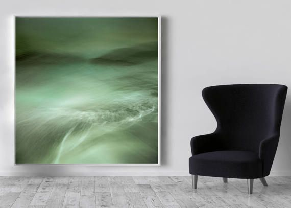 Extra large wall art, large abstract, green, canvas large, abstract seascape, beach artwork,home decor, wall art,large green canvas art