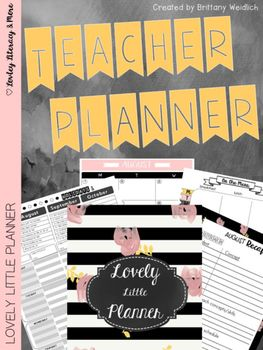 Teacher Planner: Lovely Little Planner Black & White Strip