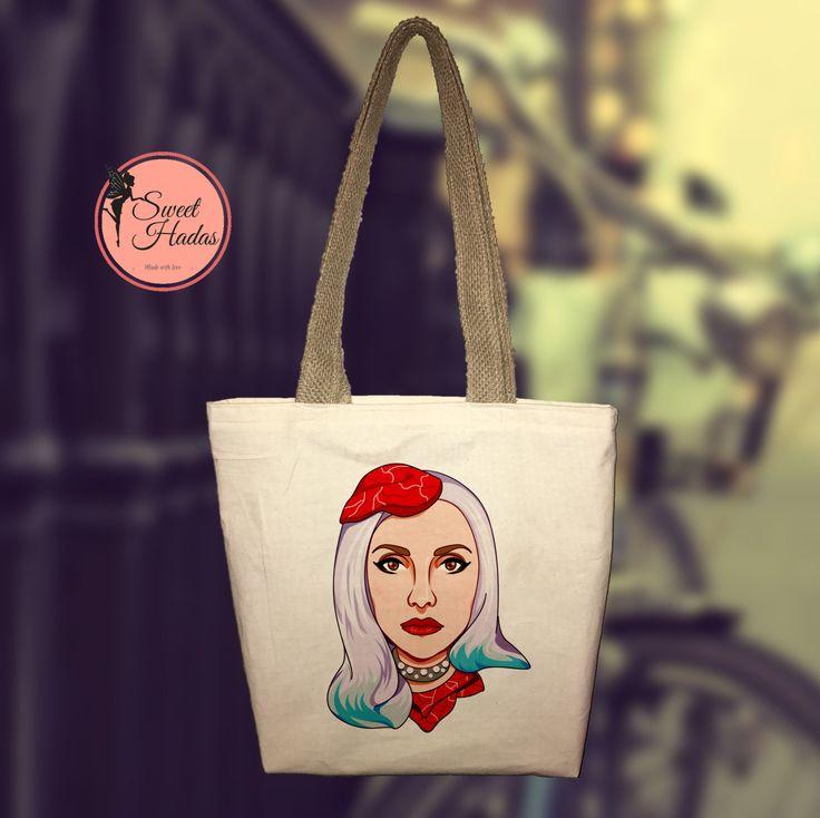 Ecofriendly Regalo de navidad, Lady Gaga Tote Bag, reciclaje, personalizada, despedida de soltera, Tipografía, Bolsa de mercado funcional. de SweetHadas en Etsy