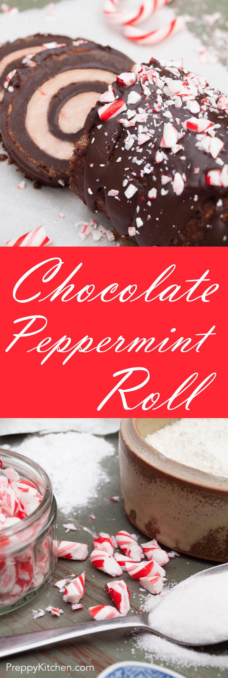 This decadent chocolate roll is surprisingly forgiving to assemble and it looks and tastes fantastic. via @preppykitchen | Holiday Desserts, Christmas recipes, Chocolate recipes, Peppermint recipes, homemade, Easy Desserts