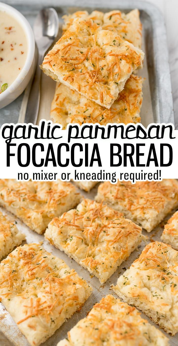 Garlic Parmesan Focaccia Bread Is A Salty, Chewy Yeast Bread That Requires No Mixer And No Kneading This Is The Perfect Carb To Supplement Any Meal. Cooking With Karli No Yeast Bread, Yeast Bread Recipes, Bread Machine Recipes, Bread Baking, Baking Recipes, Milk Bread Recipe, Artisan Bread Recipes, Cornbread Recipes, Jiffy Cornbread