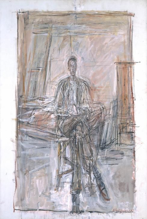 """Alberto Giacometti, """"Seated Man"""" 1949. Oil paint on canvas."""