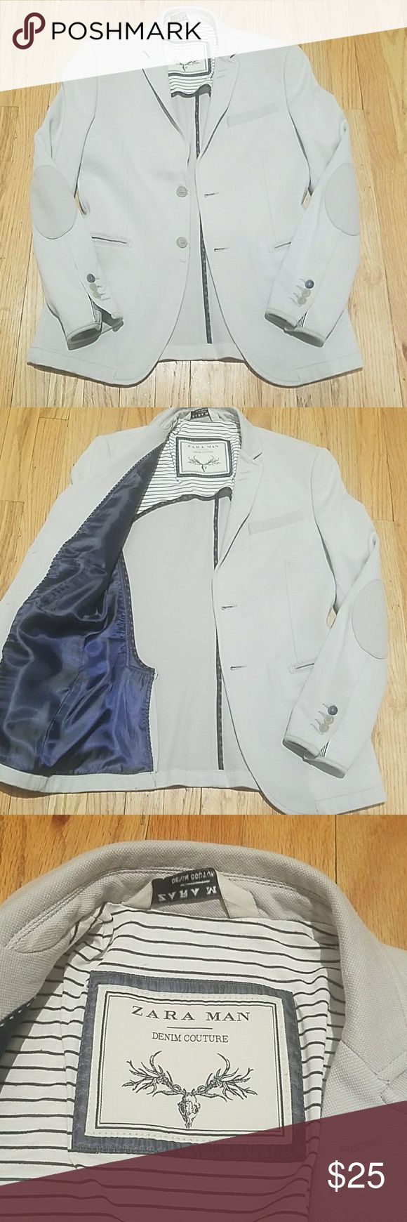 Zara Men's Blazer Jacket. Mens Size 38R Zara Men's Blazer Jacket. Mens Size 38R Very good condition with a small spot on back of right sleeve.  Also very vague discoloration/wear in left sleeve cuff by buttons.  See pics.  Otherwise still a killer jacket.  Creamish white color. Zara Suits & Blazers Sport Coats & Blazers