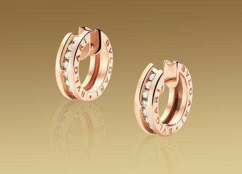 Bvlgari B.zero1 earrings in 18 kt pink gold with pavé diamonds (=)