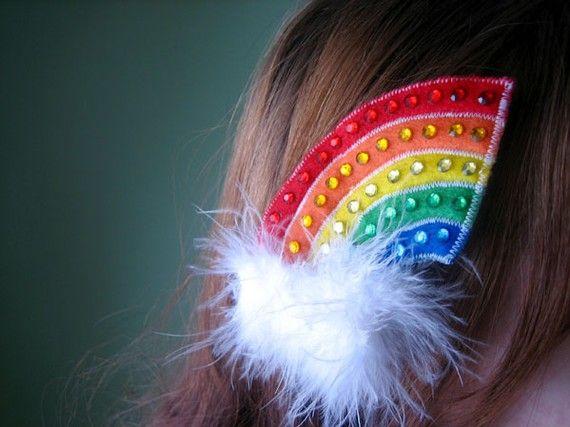 Colorful Rhinestone and Felt Rainbow Feather Hair Clip