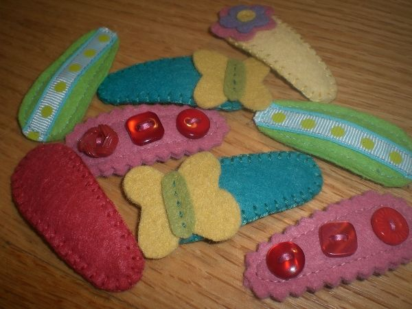 contour clip barrette coversBirthday Presents, Sewing Projects, Folk Art, Hair Clips, Felt Clips, Clips Covers, Barrett Covers, Contouring Clips, Clips Barrett