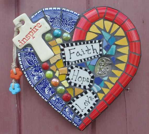 Mosaic Art 'Inspire Heart Faith Hope' and Love by DumbLadyMosaics