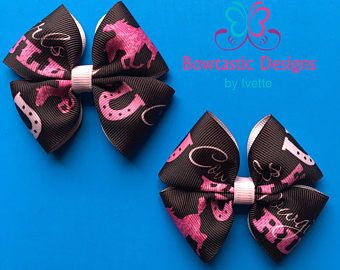 Cowgirl Bow, Pink and Brown, Western Hair Bow, Country Girl Hair Bow, Country Girl, Simple Bow, Girls Hair Bow, Toddler