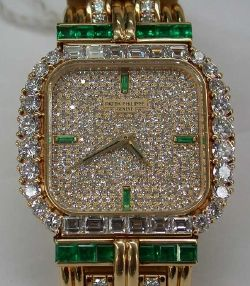 Patek Philippe Diamond and Emerald Watch