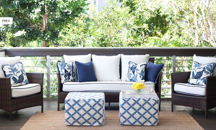 Diane Bergeron Chic white & blue deck patio design with