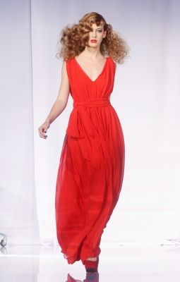 ginger red hair, red maxi dress