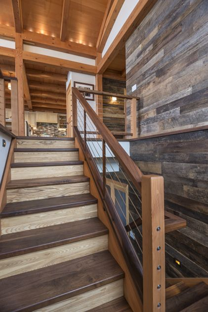 Walnut Stair Treads Pop Against Reclaimed Grey Elm Risers, Douglas Fir  Stringers And Posts,