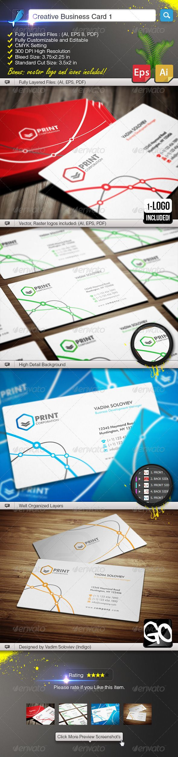 90 best print templates images on pinterest print templates font creative business card 1 graphicriver detail fully layered files ai eps 8 reheart Image collections