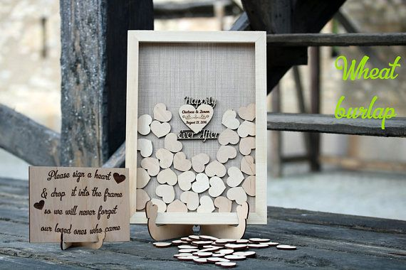 Wedding book wood heart wedding guest book sign Happily ever