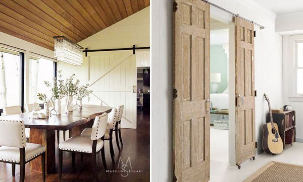 Love the White sliding door and the chandelier in the dining area. Sliding Barn Doors In Interior Design