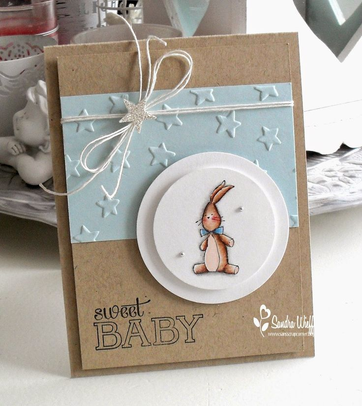 Stampin up embossing folder and die cuts. Simple but so cute. Baby card.