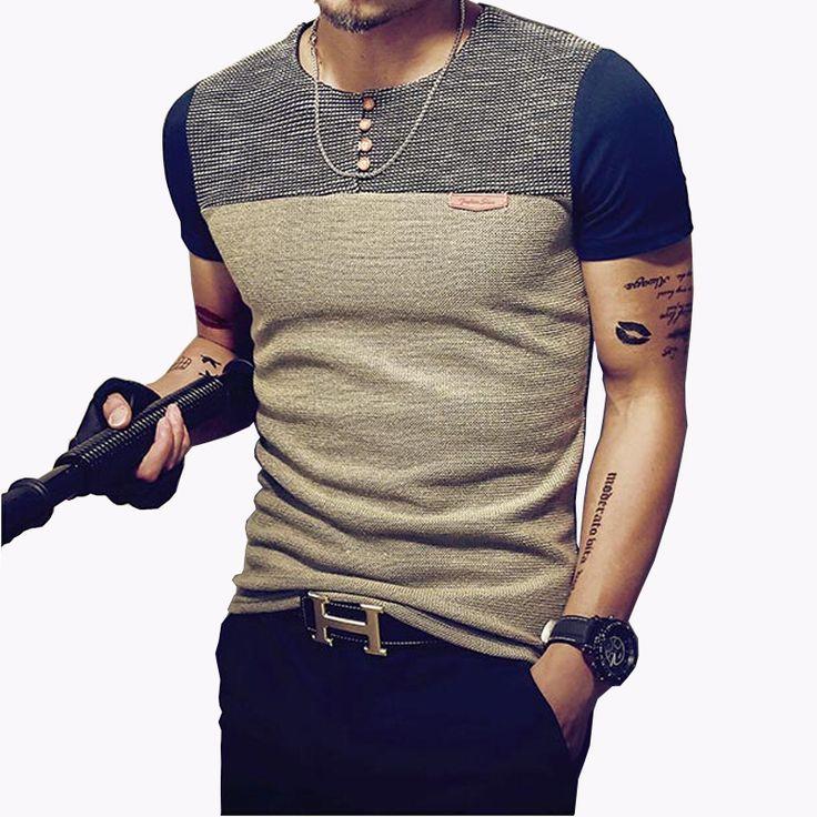 2016夏のファッションメンズtシャツカジュアルパッチワークショートスリーブtシャツメンズ服トレンドカジュアルスリムフィットヒップホップトップtシャツ5xl