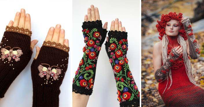 Natalija Branchevičienė z Litvy tvorí bezprstové rukavice, ktoré vznikajú kombináciou pletenie, háčkovania a vyšívania . Pletené bezprstové rukavice