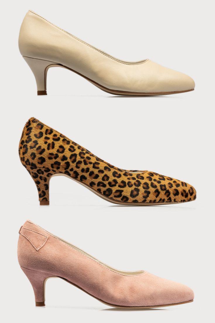 Womens Pink Eve Kitten Heel Court Shoes- Pink | Heels