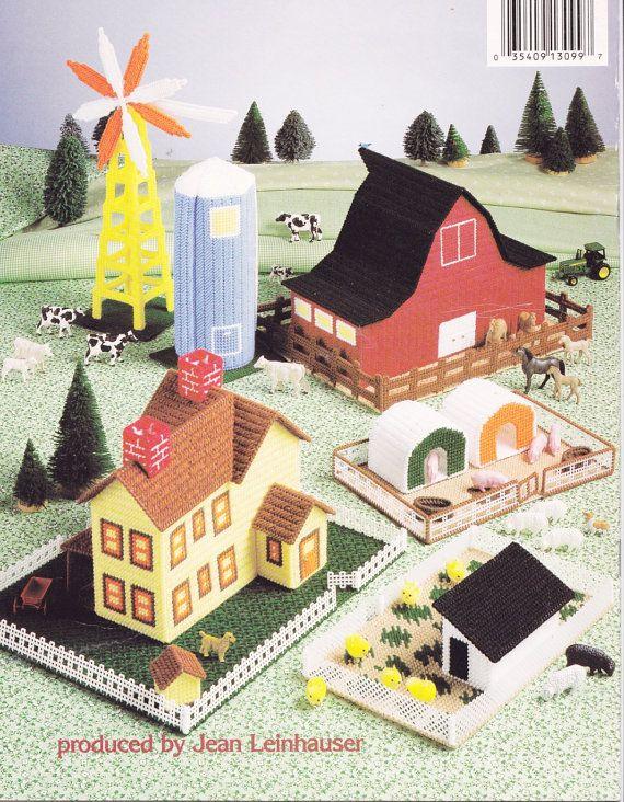 Vintage 1991 Plastic Canvas Needlepoint Patterns Farm Barn