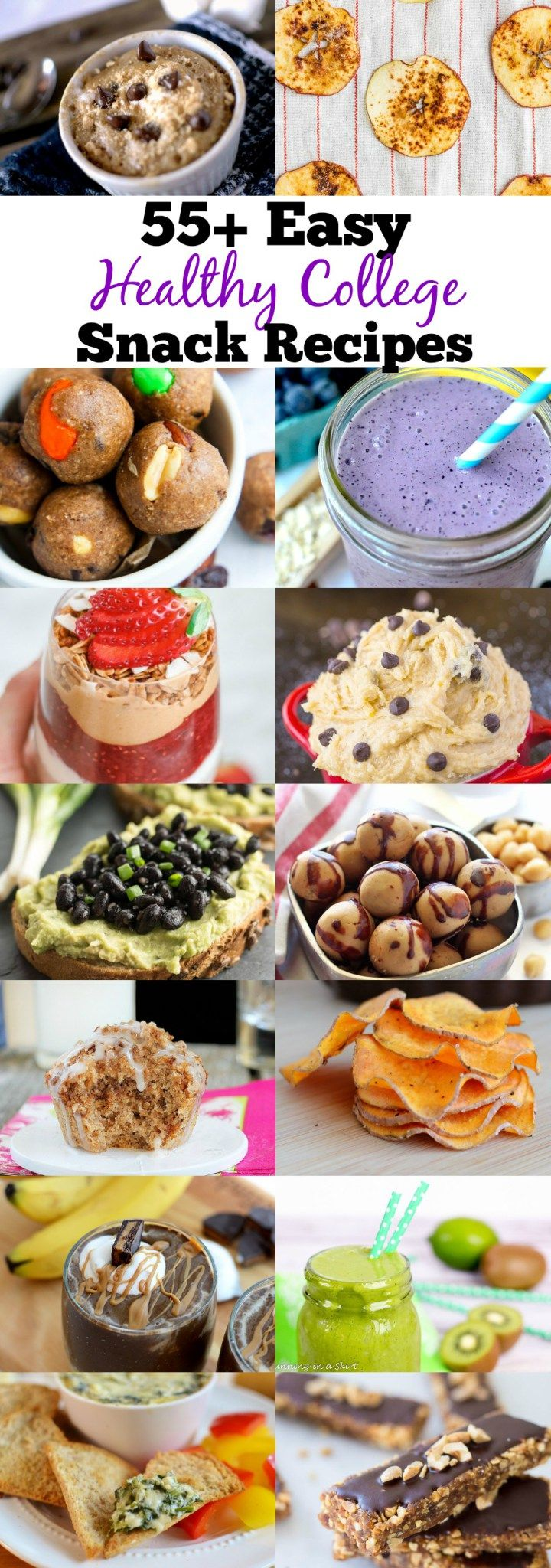 we created a list of over 55 Healthy College Snack Recipes that can be made in a Dorm Room! This list is also great for people who have dietary restrictions such as GF, DF, Paleo and Vegan!