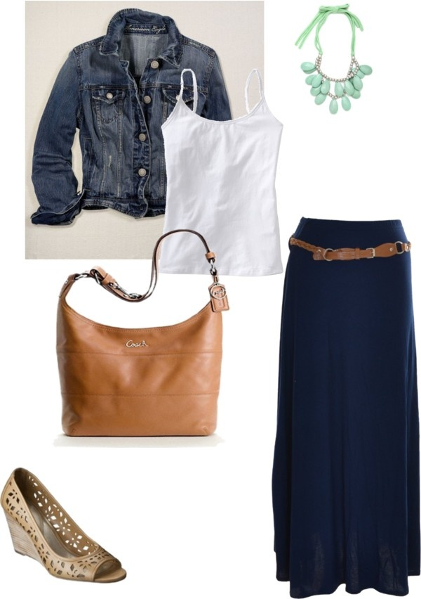 """Navy Maxi, super cute necklace."" by teresa-loop ❤ liked on Polyvore. Love a maxi and a denim jacket.... enough to see me through spring and summer. Feels to me like a more feminine alternative to jeans when wanting a casual look. I prefer flip flops!"