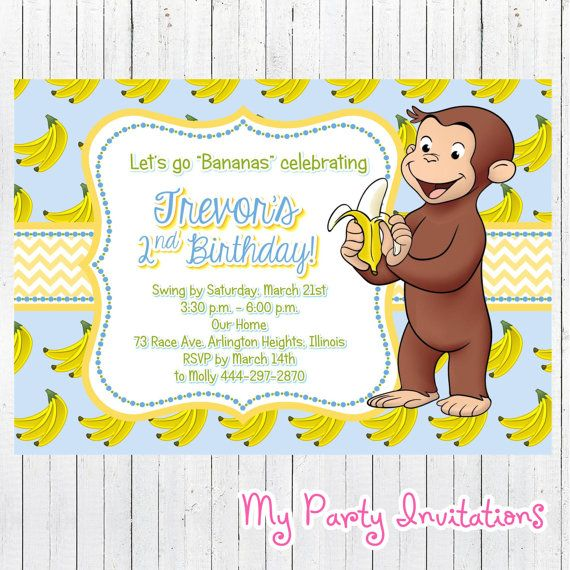 Curious George Birthday Invitation Banana por MyPartyInvitations