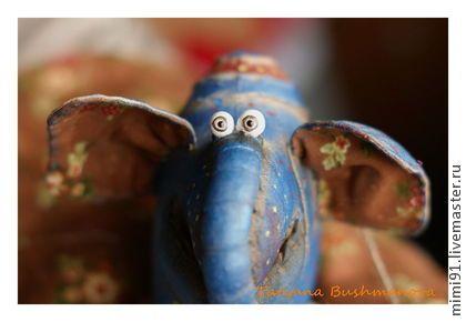 Слон Харитон №2 - синий,слон,синий слон,грунтованный текстиль,смешной подарок