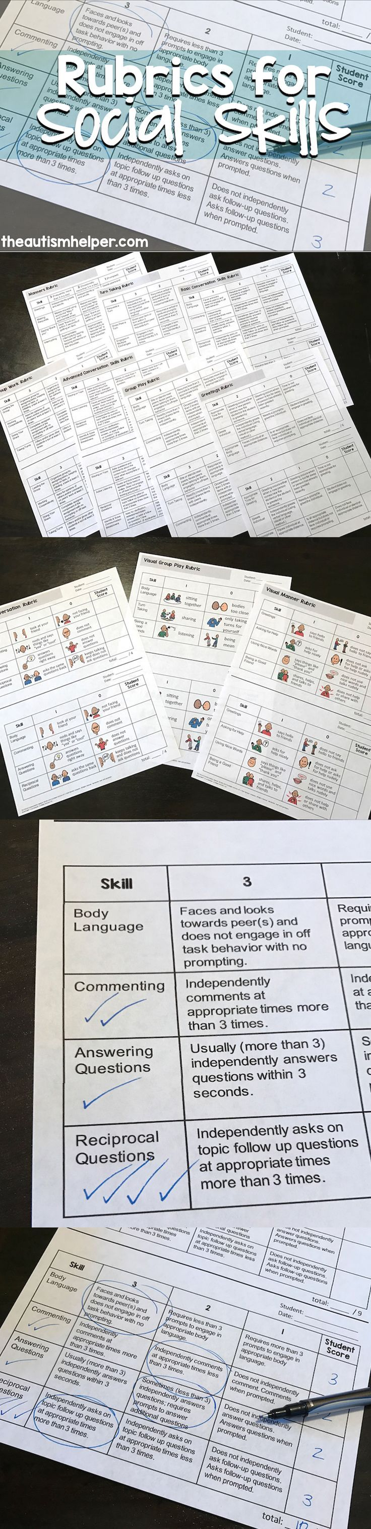 Our Social Skills Rubrics will help you take data on difficult social skills so you can track growth & areas of need!! From http://theautismhelper.com #theautismhelper