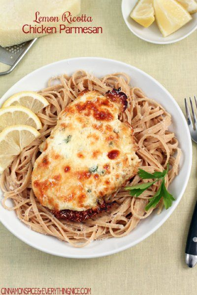 Lemon Ricotta Chicken Parmesan by Cinnamon Spice and Everything Nice