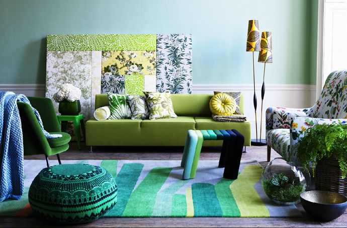 Ideas of How to Create a Fantasy World in Your Apartment: Colors Pallets, Green Interiors, Living Rooms, Blue, Interiors Design, Colors Combinations, Damian Russell, Shades Of Green, Green Rooms