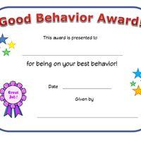 good behavior award certificate