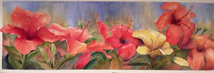 Hibiscus garden  Watercolour by Heather Plowman