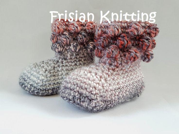 Gebreide & gehaakte schoenen - Gehaakte baby booties, baby schoentjes, baby uggs - Een uniek product van FrisianKnitting op DaWanda