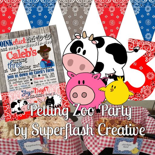 Petting Zoo Party by Superflash Creative #farm #kid #birthday #party #animals #red #blue #bandana