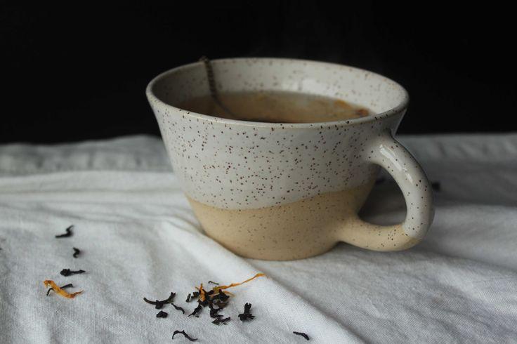 White glazed stoneware teacup - Stinging Nettle Studio, Homestead Series