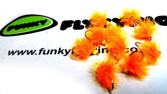 Sunburst Blob Funky Fly Tying Fritz - winter fishing for trout Hooks: Fulling Mill Com Bead: Funky Fly Tying Coloured Beads Thread: Yellow UTC Thread Body: Funky Bonded Blob Fritz max 5 turns