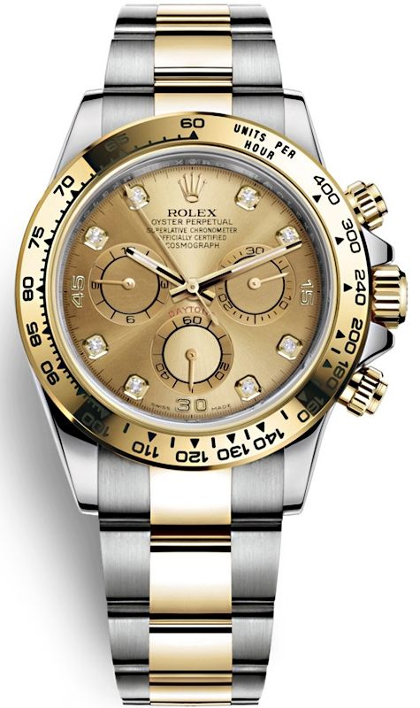 09e9b5f5a Rolex Oyster Perpetual Cosmograph Daytona Oystersteel and Yellow Gold  Diamond Champagne Dial 40 mm 2 Tone Bracelet Mens Watch Reference  116503-0006