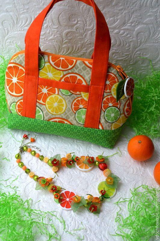 """Купить Компект для девочки """"Разноцветные дольки"""" (колье и сумочка). - комплект для девочки, оранжевая сумка, апельсиновый"""