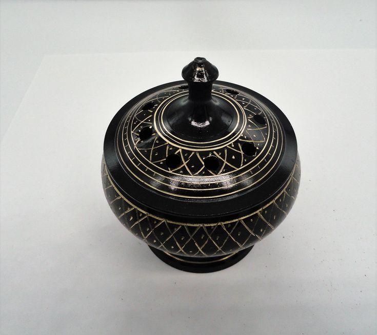 Carved brass incense burnercharcoal burnerincense etsy