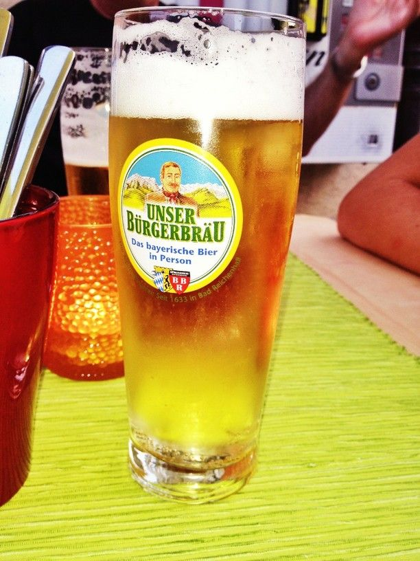 Piccolino Das kleine Restaurant, Bad Reichenhall, Germany — by Britta Glassl. Unser Burgerbrau: a bavarian beer.
