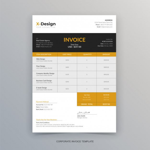 Professional Business Invoice Template In 2020 Invoice Template Invoice Design Template Photography Invoice