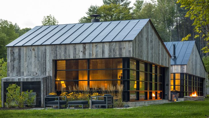 Salvaged wood clads handsome mountain cabin in Vermont