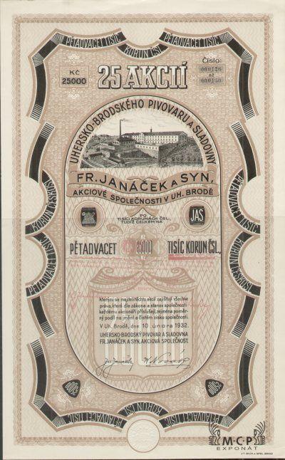 A0843 Uhersko-brodský pivovar a sladovna Fr. Janáček a syn, akciová společnost 1932