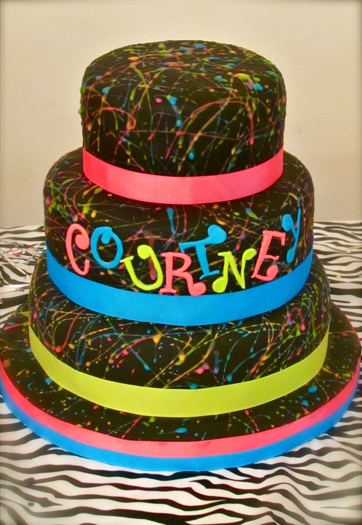 FUN Neon Cake for 80's themed party
