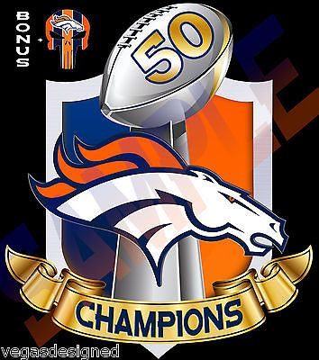 "Denver Broncos SUPER BOWL 50 CHAMPIONS Decal/Sticker FULL COLOR Car Truck 7"" V4"